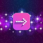 Arrow in night style UI - stock illustration