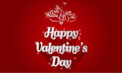 Happy Valentines day card with shadows roses and lighting effect Stock Illustration