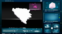 Bosnia and Herzegovina - computer monitor - blue 00 Stock Footage