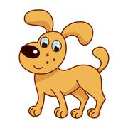 Cartoon smiling golden puppy, cute funny naughty dog - stock illustration