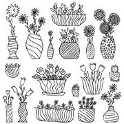 Hand drawn indoor plants in a pots, gloxinia, balsam, tulip, aster - stock illustration