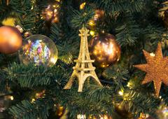 Christmas decorations with Eiffel Tower - stock photo