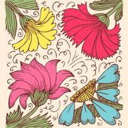 Vintage background with amazing flowers like calendula, godetia, camomile, aster - stock illustration