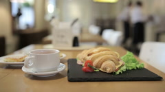 Breakfast in the cafe - stock footage