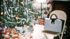 Beautiful Festive Christmas Tree And Presents-1956 Vintage 8mm film - stock footage