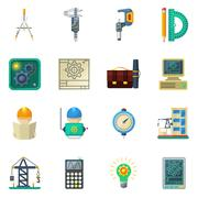 Engineer Flat Icons Set Stock Illustration