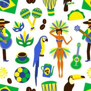 Brazil seamless pattern - stock illustration
