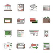Bank Icons Outline - stock illustration