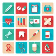 Medicine icons set flat Stock Illustration