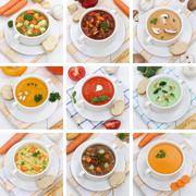 Collection of soups healthy eating soup food in bowl tomato vegetable noodle Stock Photos