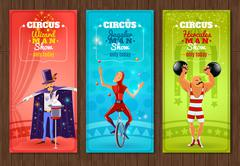 Travelling circus show flat banners set - stock illustration