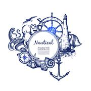 Nautical marine composition icon doodle - stock illustration