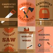 Carpentry 6 flat banners poster Stock Illustration