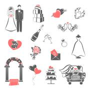 Wedding concept black red icons set Stock Illustration
