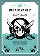 Pirate party announcement poster with skull - stock illustration