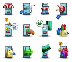 Mobile commerce m-commerce 3d icons set Stock Illustration