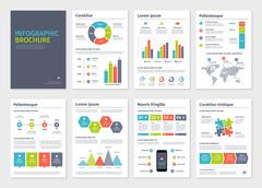 Business A4 brochures with infographic vector elements - stock illustration