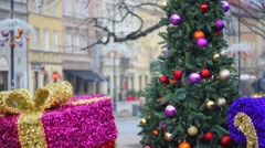 Christmas decoration in Warsaw Stock Footage