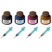 Bottles of color ink and syringes for cartridge refill Stock Illustration