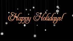 Happy Holidays title with floating Paper Flakes, against black Stock Footage
