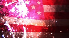 America Text With USA Flag and Fireworks in the Background - stock footage