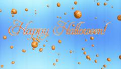 Happy Halloween title and pumpkins flying, against light blue Stock Footage