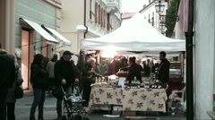 The Christmas market in Sestri Levante Stock Footage