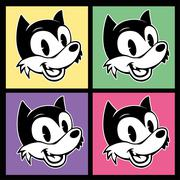 vintage toons. four images of retro cartoon character smiley woolf on the - stock illustration