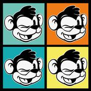 Vintage toon. four images of smiling and winking retro cartoon monkey character - stock illustration