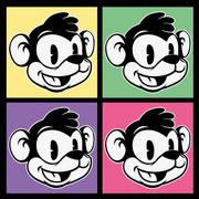 Vintage toon. four images of smiling retro cartoon monkey character on colorful Stock Illustration