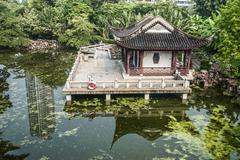 Pagoda temple pond Kowloon Park Hong Kong Stock Photos