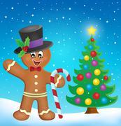 Gingerbread man theme image - eps10 vector illustration. - stock illustration