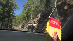 """View shot through  window of  going car with sign """"Espana""""- Spain Stock Footage"""
