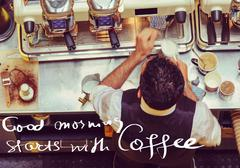 Barista and coffee machines at the bar, message Good morning starts with Coff - stock photo