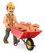 3D Construction worker with a wheelbarrow full of bricks - stock illustration