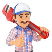 3D Plumber with a pipe wrench Stock Illustration