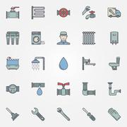 Vector plumbing colorful icons - stock illustration
