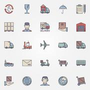 Shipping and delivery icons - stock illustration