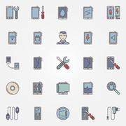 Smartphone repair colorful icons - stock illustration