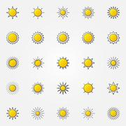 Glossy sun icons set - stock illustration