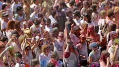 IV Festival de los colores Holi Barcelona Stock Footage