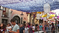 Major de Gracia Festival  in Barcelona, Spain. Stock Footage
