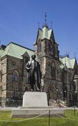 Wilfrid Laurier monument in front of East Block building Ottawa Ontario Canada - stock photo