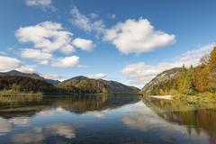 Almsee in autumn Totes Gebirge Almtal Upper Austria Austria Europe - stock photo