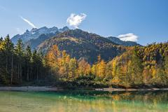 Autumn mood by the Kleiner Odsee lake Totes Gebirge Almtal Upper Austria - stock photo