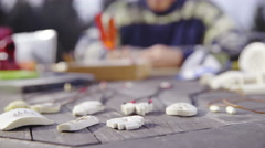 Bone carving creative work space 4K Stock Footage