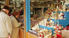 Traditional Christmas fair near Cathedral   in  Barcelona Stock Footage