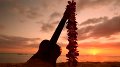 Hawaii concept with ukulele and lei on the beach at sunset Stock Footage