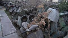 Transport graveyard used discarded motorcycles motorbike for recycle, India Stock Footage