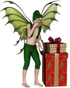 Christmas Fairy Elf Boy with Pile of Presents - stock illustration